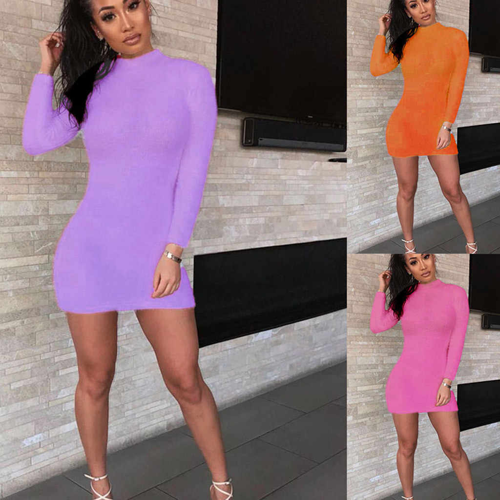 Vrouwen Pure Colour Herfst Winter Mini Jurken Nauwsluitende Lange Mouwen Jurk Coltrui Fuzzy Schede Sexy Party Dress Clubwear