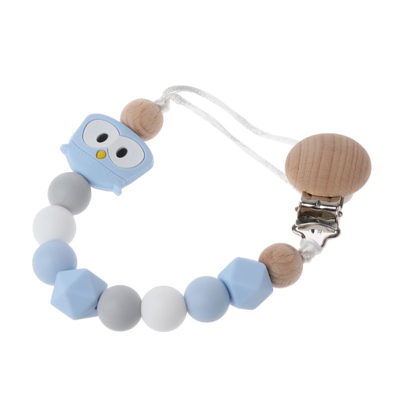 Owl Silicone Teething Pacifier Clips With Safe Wooden Beads Pacifier Chain Holder For Nipples Baby Chew Toys