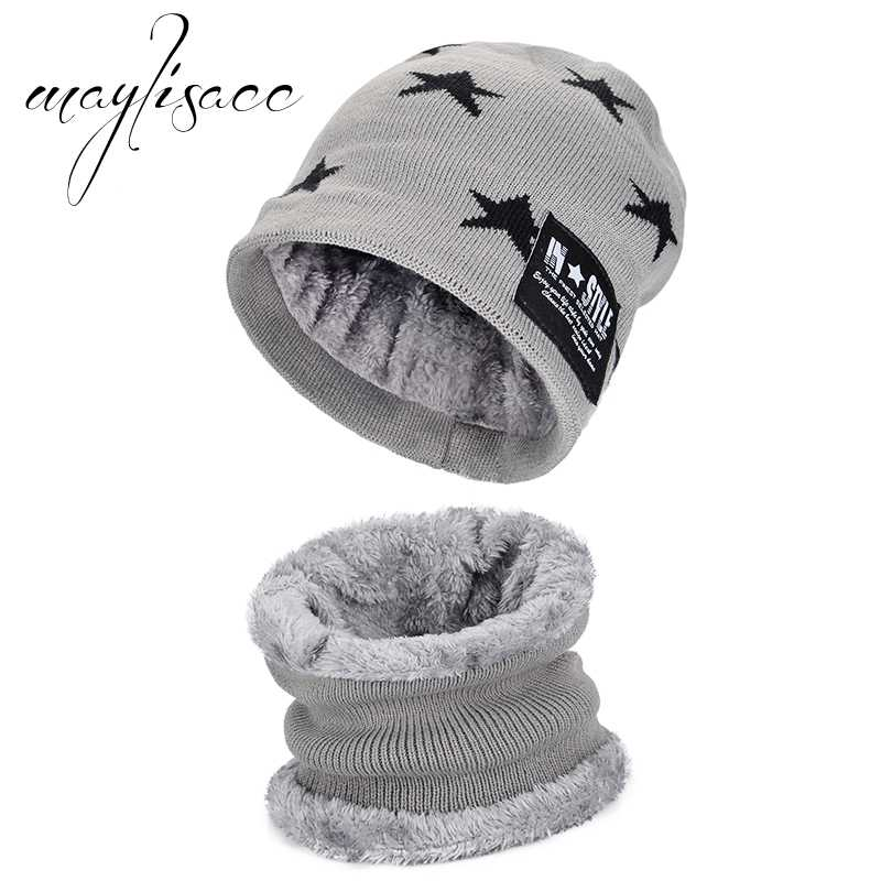 f2316372696 Maylisacc Children Winter Warm Thickened Knitted Hat Cap with Scarves Hot  Sell for 6-10