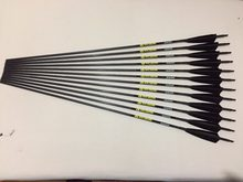"12pcs Carbon arrow spine300/340/400/500 ID6.2 with 5"" Turkey fletching feather arrow nock for traditional bow archery(China)"