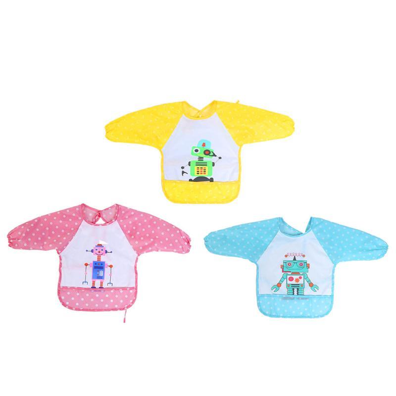 Adjustable Cartoon Baby Bibs TPU Waterproof Membrane Long Sleeve Baby Feeding Bibs Infants Robot Print Apron Clothing