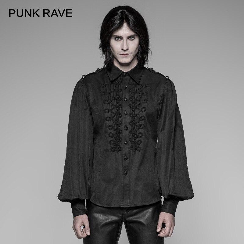 PUNK RAVE New Black Gothic Uniform Retro Disc Buckles Long-Sleeve Men Shirt Party Gentleman Fashion Cool Black Shirts Man Tops