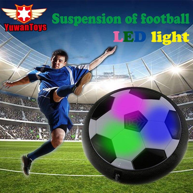 Caliente divertido LED luz intermitente llegada aire de la energía bola disco fútbol juguete en caja Multi-Superficie de vuelo deslizamiento de juguete