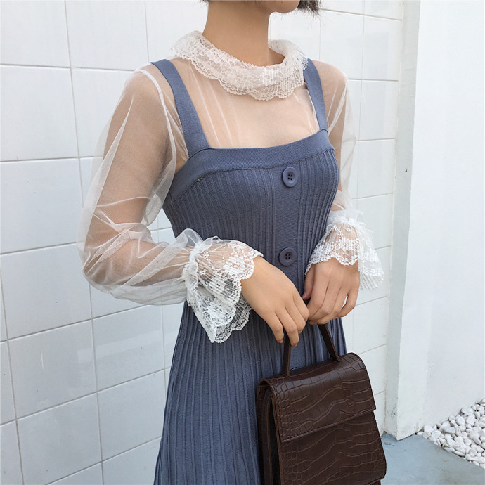 Women Sexy Transparent Mesh Patchwork Tee Shirts Blouses Girls Full Flare Sleeve Tops Shirts Clothing For Ladies