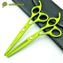 6″ green hairdressing scissors manual hair clipper professional hair cutting shears cheap barber thinning scissors hair sissors