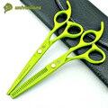 "6 ""verde manual de cortadora de cabello de corte de pelo profesional tijeras de peluquería tijeras de reducción del pelo tijera tijeras de peluquero barato"