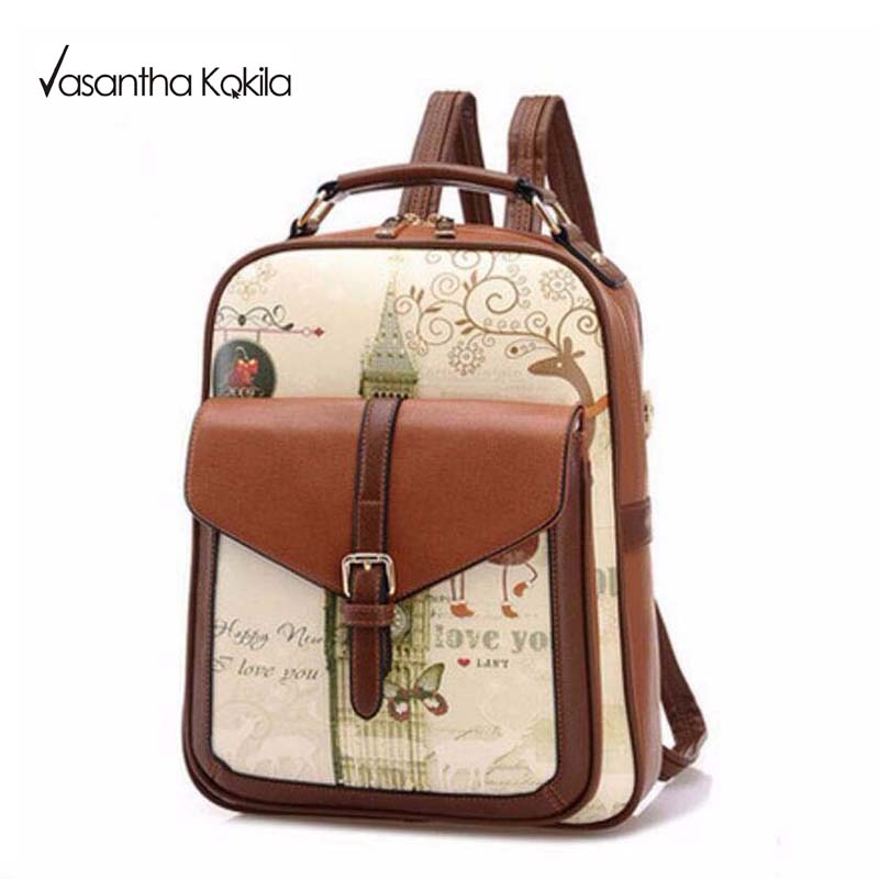 Fashion feminine backpacks youth travel backpack women school bags for teenagers girls Landscape leather backpack brand
