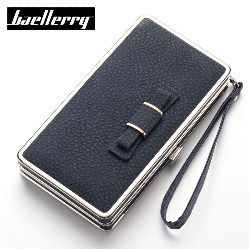 New Baellerry PU Leather Women Organizer Long Wallet Bowknot Money Purse Ladies Coin Phone Clutch Hand Bag Card Holder Pouch Box