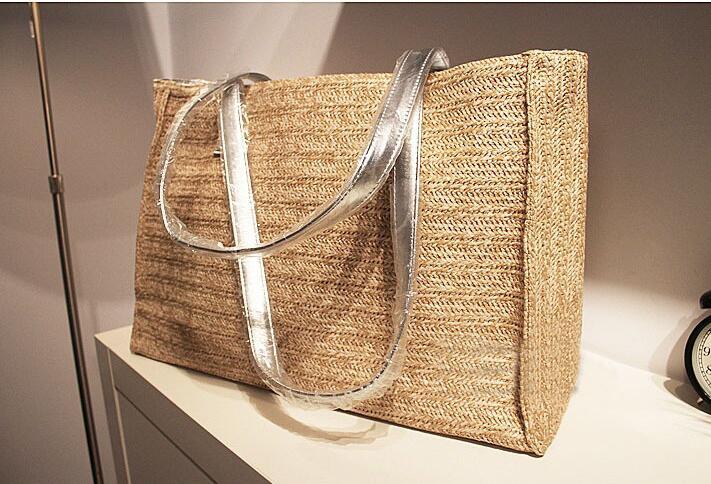 5ps/lot fedex Straw Bag Summer Beach Handbag Women Causal Shopping Travel Large capacity Woven