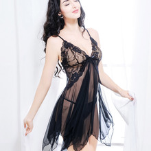 LKlady Lace Sexy Lingerie Sexy Pajamas Two Piece Suit Ladies Uniform Temptation Strap Nightdress Perspective Underwear