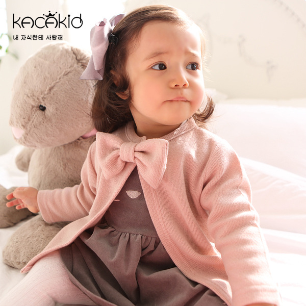 Kacakid Autumn Winter Children Jackets Baby cute girl cotton Coats Outerwear Girls casual round neck Bow Girl Clothe
