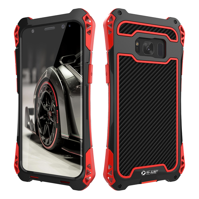 the latest 1e4e1 8c153 US $17.74 29% OFF|R JUST AMIRA S8 S8+ Metal Case for SAMSUNG Galaxy S8 Plus  Aluminum Carbon Fiber Shockproof Cover Coque-in Fitted Cases from ...