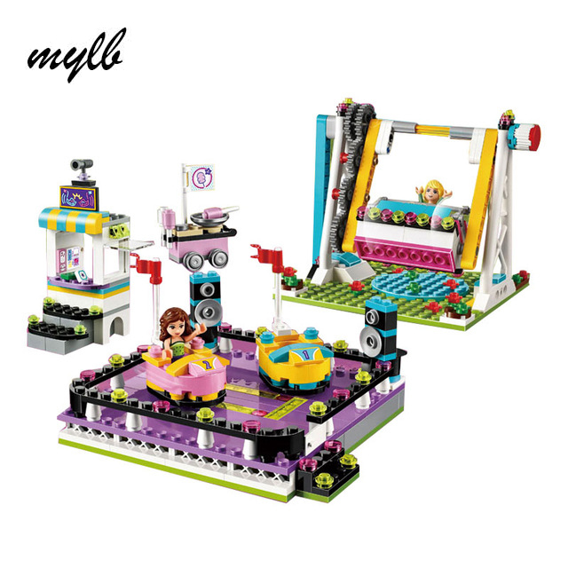 цена на mylb Friends Amusement Park Bumper Cars Building Blocks For Girl Kids Model Toys Marvel Compatible With DIY