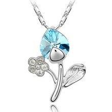 N004 Korean Fashion Heart-shaped flower crystal necklace