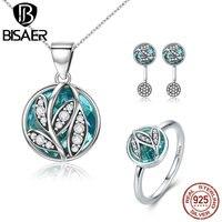 925 Sterling Zilver Hoge Kwaliteit Transparant Glas Sieraden Set Mooie Bladeren Ketting/Oorbellen/Ring Vrouwen Mode-sieraden Sets