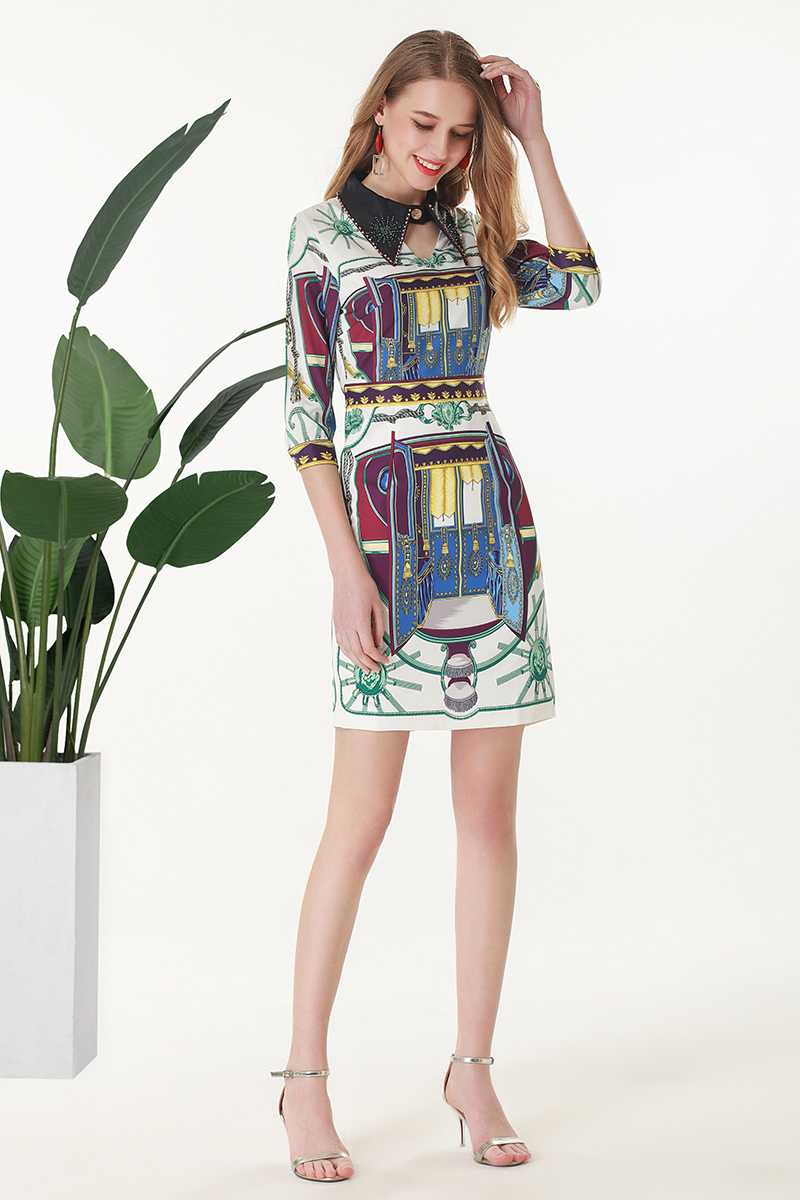 34cb7a8af68a4e Drucken Hohe 2019 Diamanten Miuximao Vestido Qualität Frauen Casual Sommer Blume  Luxuriöse Eleghant Frühlingamp  Kleid I6Yg7mbfyv