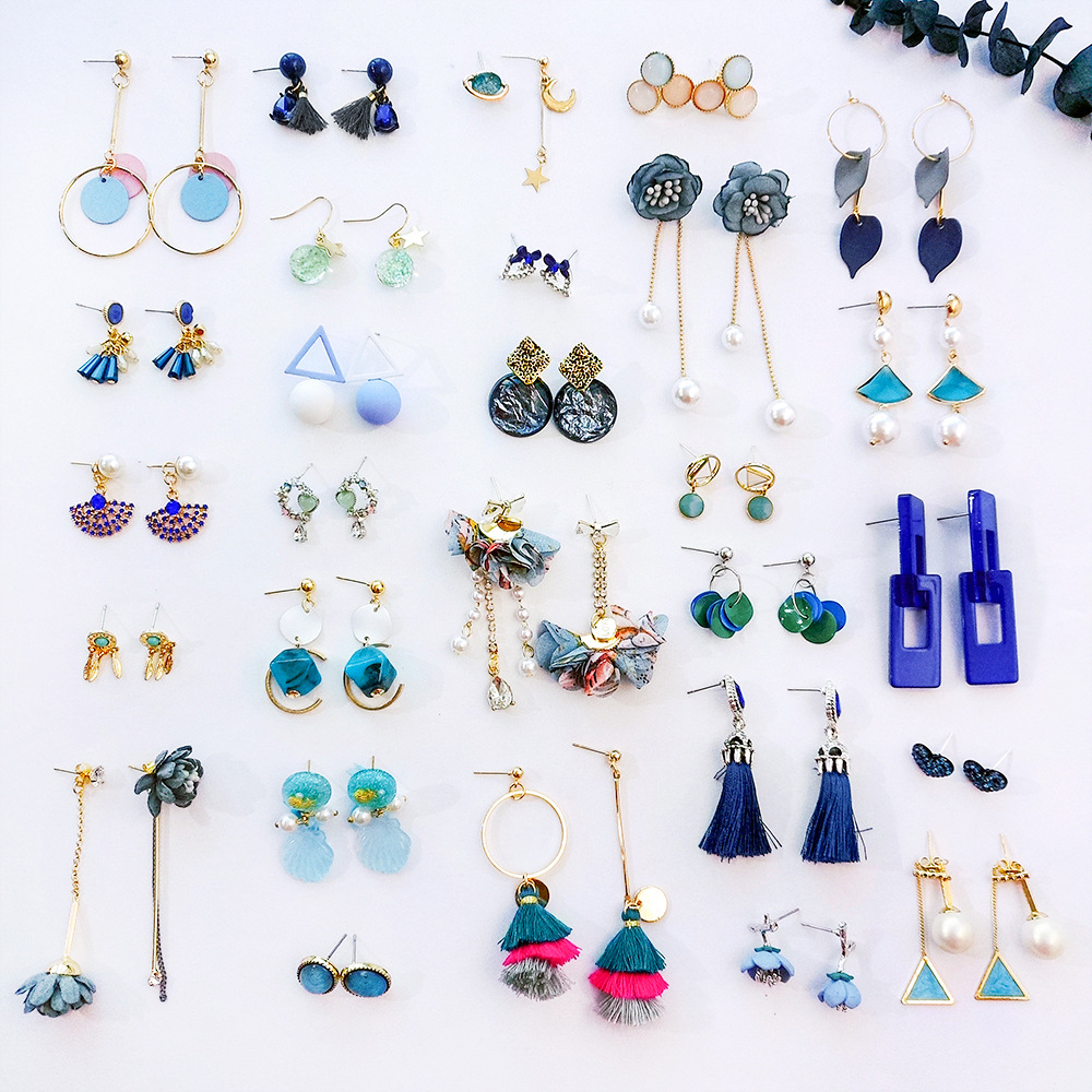 Korean Fashion Blue Green Geometry Tassels Earrings Flower Drop for Girl Jewelry Women