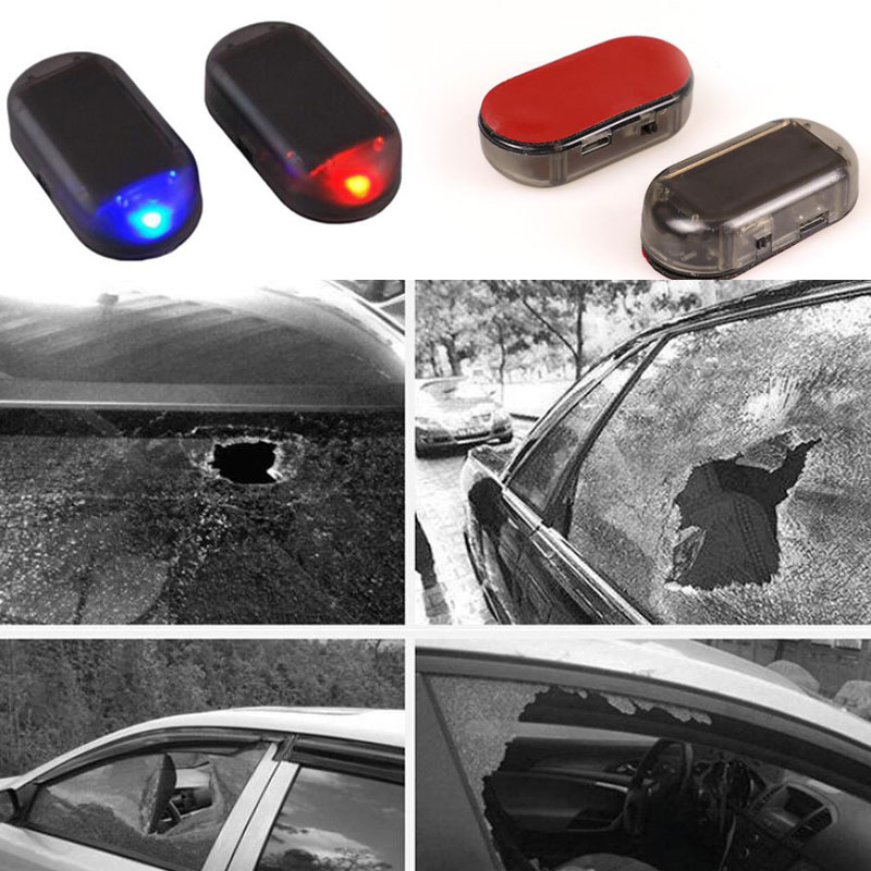 2x Universal Car Led Blue Red Light Anti-Theft Flash Blinking Fake Car Solar Dummy Alarm System Imitation