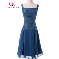 Real Picture Grace Karin Short Lace Mother Of The Bride Dresses With Jacket Mother Groom Blue