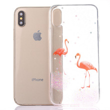 Luxury Stylish Transparency Soft Case For iPhone 6 6S 7 8 Plus X Bright Pink Flamingos Stars Sky Blue Elk TPU Cover Capa