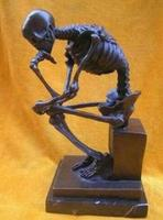 WBY817 Wonderful Bronze Skull Thinker Sculpture Statue
