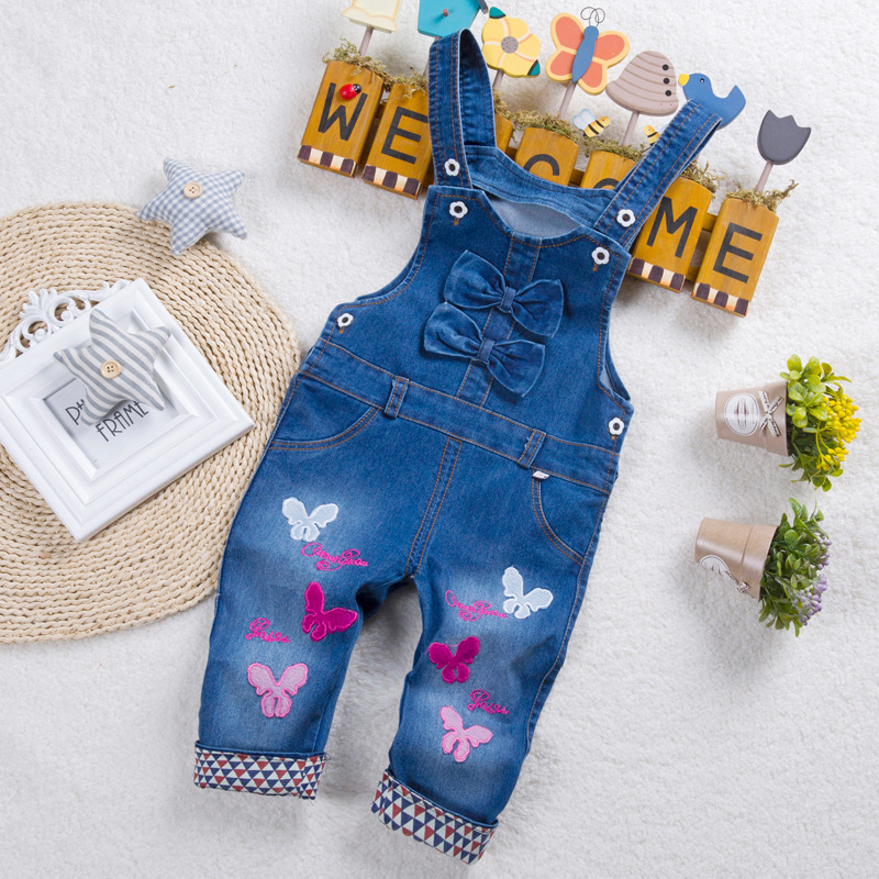 Exactlyfz Lente Herfst Peuter Overall Jeans Bib Denim Broek Kinderen Katoen Vlinder Patroon Jumpsuits Kids Pantsoveralls