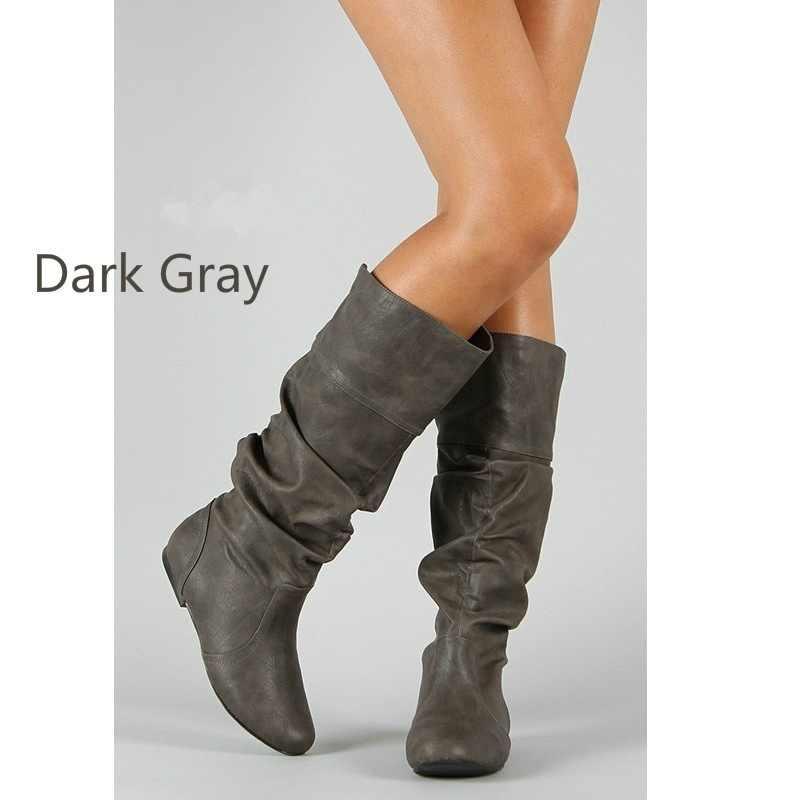 Bayan parti tasarım kama botları ayakkabı artı boyutu 35-43 kadın ilkbahar sonbahar düz uzun Pu yumuşak deri motosiklet çizme ayakkabı
