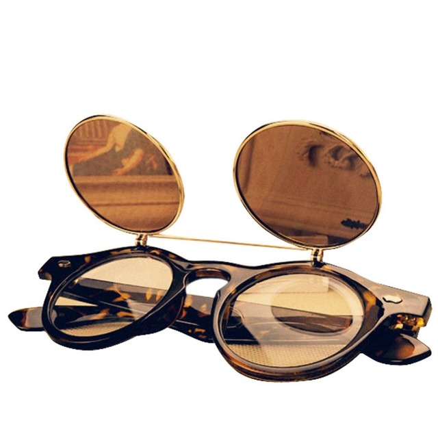 d14c29c4cd New Fashion Retro Vintage 50s Steampunk Glasses Flip Up Round Cyber Sunglasses  Goggles 4 Color black brown Y1