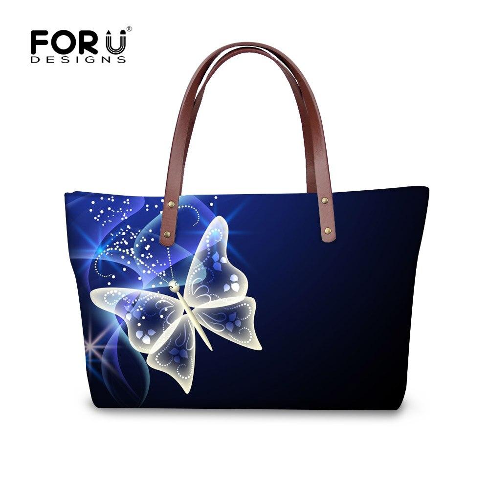 ФОТО FORUDESIGNS 3D Butterfly Printed Women Casual Handbags Large Capacity Ladies Shoulder Bags Feminine Bags Messenger Bag Tote Girl