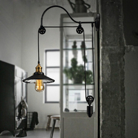 Retro adjustable pulley length iron glass reading black vintage wall lamps e27 led lights sconce for bathroom bedroom office bar