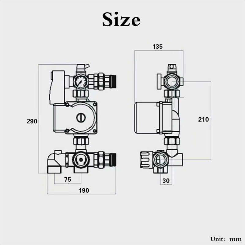 dn25 water circulating pumps water manifold hot / cold water mixing  valve for radiant floor heating
