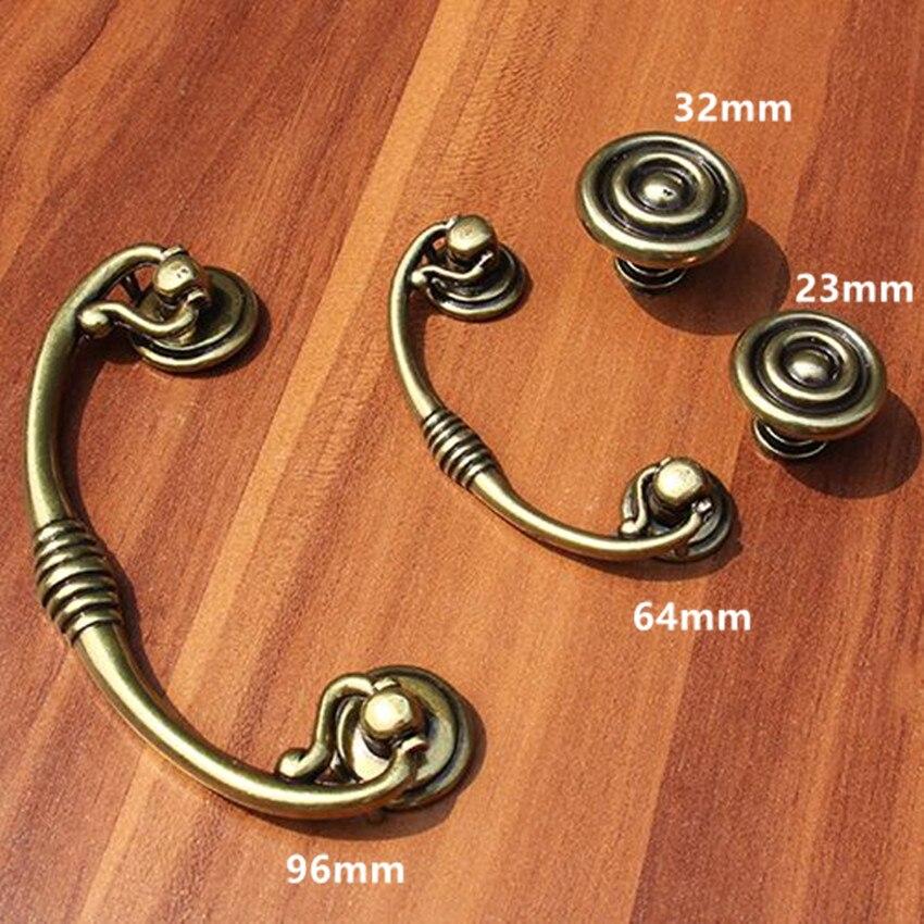 64mm 96mm vintage style shaky drop rings furniture handles bronze drawer cabinet pulls knobs antique brass dresser door handles