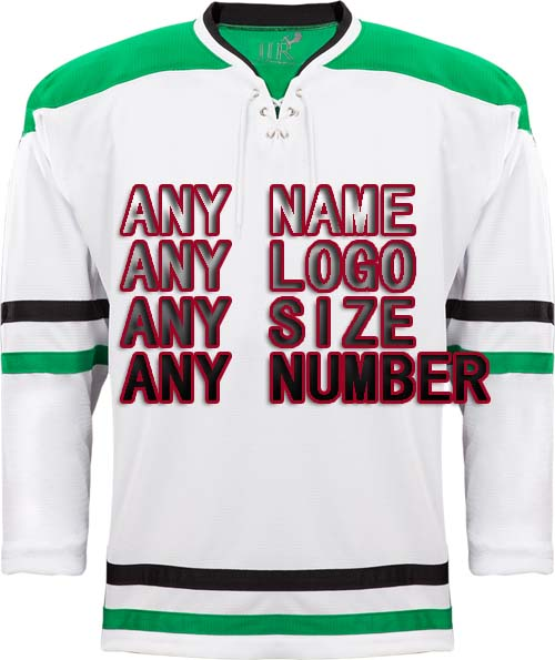 Customized Any ICE Hockey Jerseys Any logo/Name/Number Green/White Sewn On XXS-6XL Embroidery Wholesale China Free Shipping customized any ice hockey jerseys any logo name number color size sewn on xxs 6xl embroidery wholesale from china free shipping