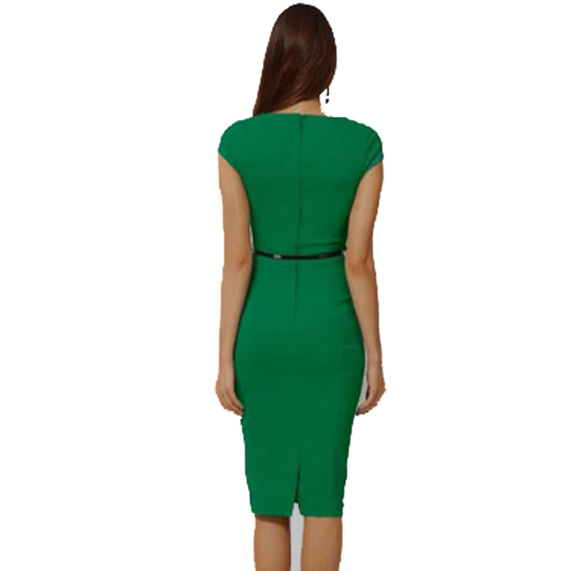 Square Collar Sleeveless Knee-length Pencil Dress