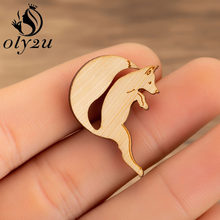 Oly2u Jumping Fox Brooch Wood Lapel Pin For Women Aniaml Jewelry Badge Lapel Pin Enamel Denim Jackets Collar Badge Pins Broches(China)