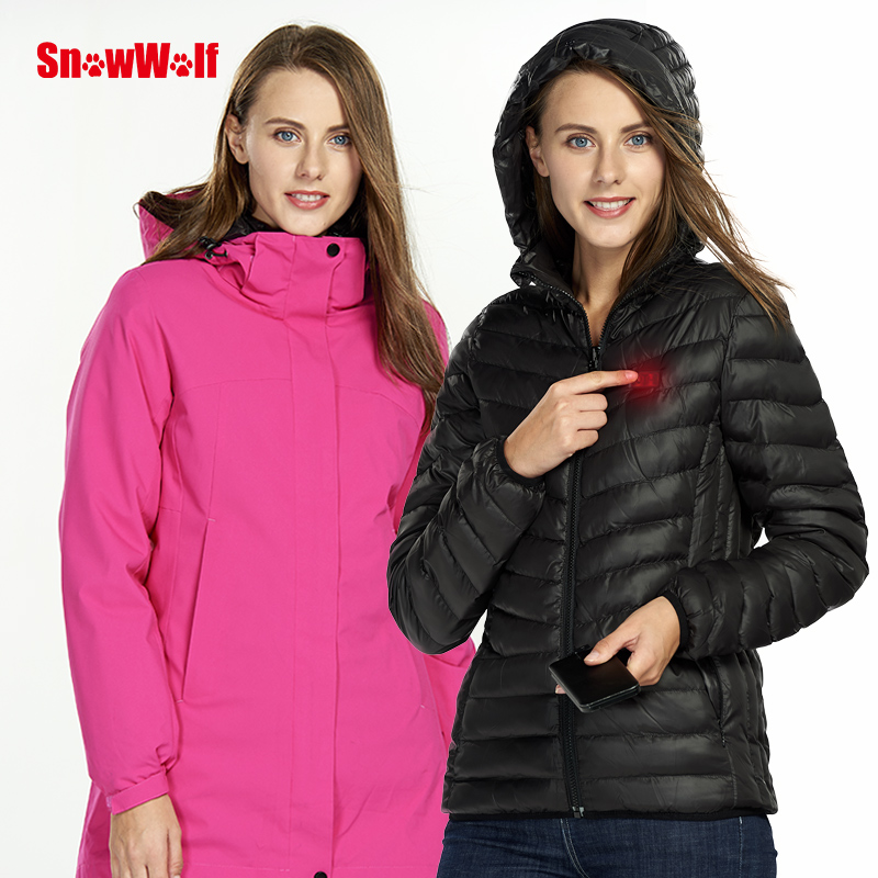 SNOWWOLF 2018 Women Winter Softshell USB Heated Jacket Outdoor Waterproof  Thermal Sport Camping Hiking Coat 3 in 1 WindbreakerSNOWWOLF 2018 Women Winter Softshell USB Heated Jacket Outdoor Waterproof  Thermal Sport Camping Hiking Coat 3 in 1 Windbreaker