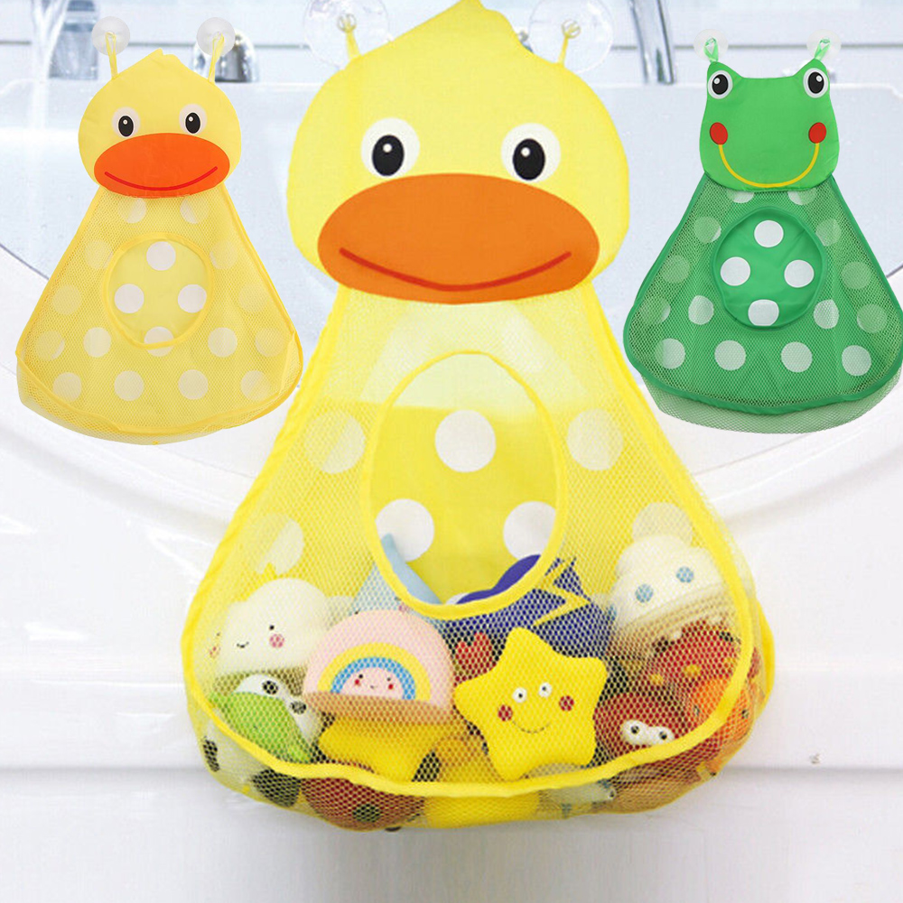 1pcs Baby Shower Bath Toys Little Frog Duck Baby Kids Toy Storage Mesh With Strong Suction Cups Toy Bag Net Bathroom Organizer