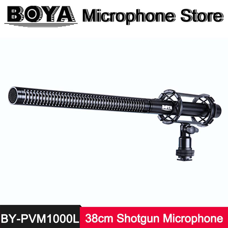 BOYA BY-PVM1000L Microphone Professional Broadcast-Quality 38cm Shotgun Condenser Mic for Video Camera Camcorder ENG attractive plunging neck solid color long sleeve bodycon dress for women