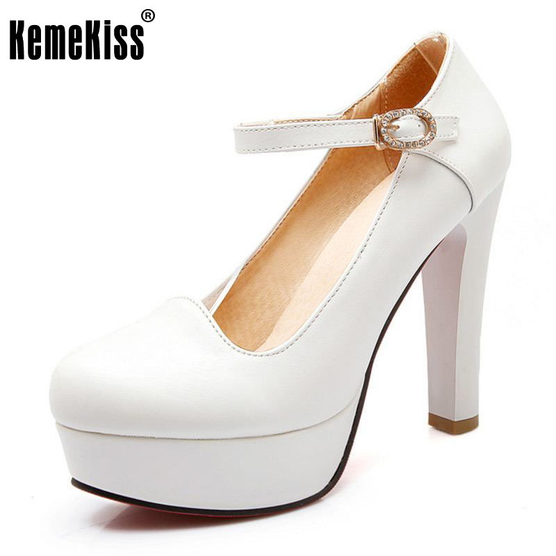 KemeKiss Size 32-43 Sexy Lady Platform High Heel Shoes Women Ankle Strap Thick Heel Pumps Party Club Office Shoes Women Footwear kemekiss size 32 48 women point toe shoes high heels women pumps tassels thin heel shoes women sexy party club women footwears