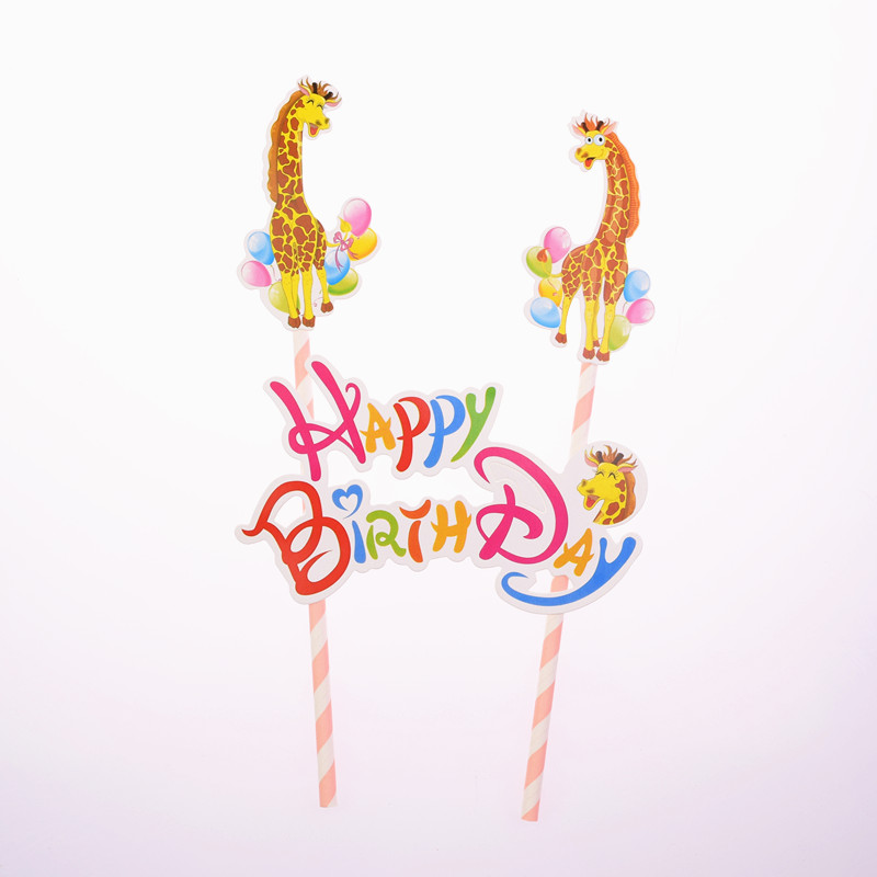 DIY Giraffe Happy Birthday Cake Flag Animal Zoo Baby Shower Cake Topper Birthday Party Cake Baking Decor Supplies in Cake Decorating Supplies from Home Garden
