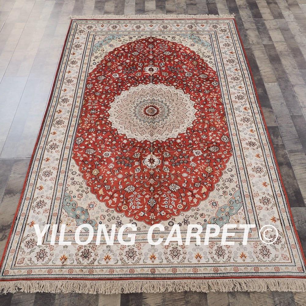 Traditional Kashmir Silk Handmade Hand Knotted Persian: YILONG 5'x8' Traditional Hand Knotted Handmade Silk Carpet