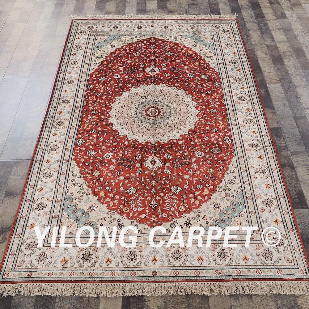 YILONG 5'x8 'tapis de soie fait main traditionnel noué à la main tapis de soie cachemire oriental (J10B5x8)