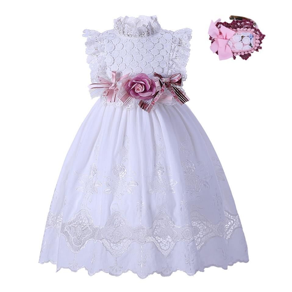 Pettigirl White Flower Girl Dresses Summer Lace Kids dress Solid Bow ...