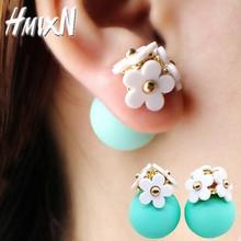 2016 New Fashion crystal flower Earrings ball cute korea two side Jewelry Double side Stud Earring black For Women wholesale