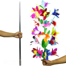 funny gadgets Vanishing Cane To Flower ( silver ) Magic Tricks Metal Vanishing Cane Stage Flower Comedy Magic Prop