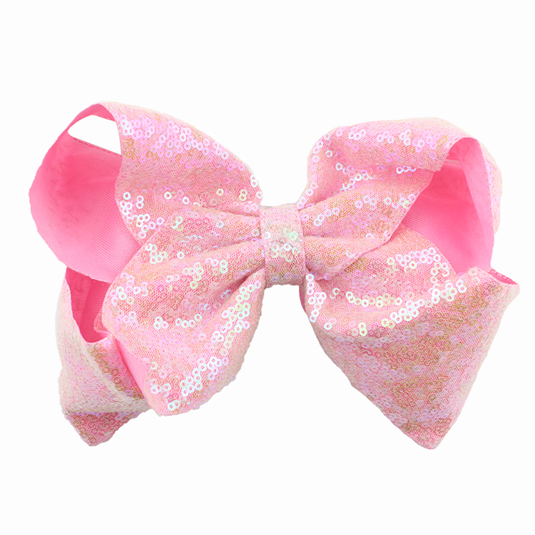 8 inch Jumbo Sequin Rainbow Bow With Hair Clip For Girls Kids Handmade Boutique Knot Jumbo Hair Bow Hairgrips Hair Accessories (6)