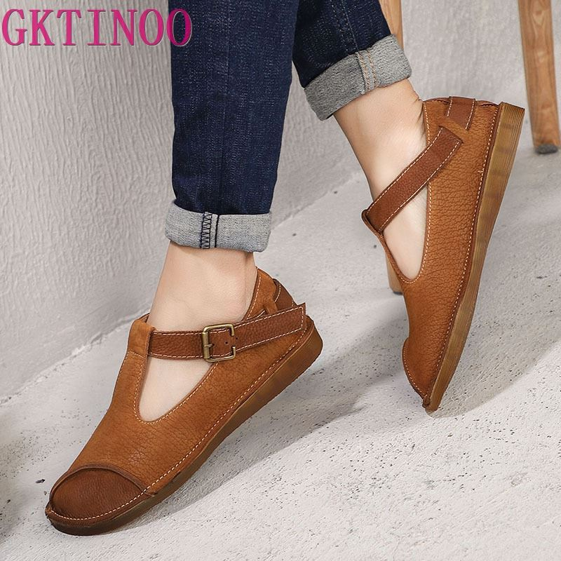 GKTINOO Original 2019 Spring and Summer New Retro Women Shoes Genuine Leather Flat Casual Handmade Comfortable