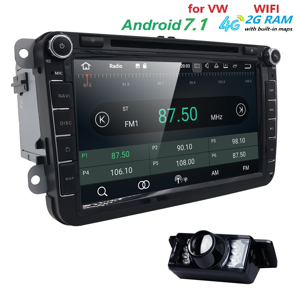 AutoRadio 2din GPS Android 7.1 Car DVD Player for skoda octavia 2 fabia VW passat b6 T5  ...