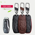 Car Key Case Cover For Ford Mondeo MK3 MK4 4 C MAX Fiesta MK7 ST Fusion Focus 2 3 KA Edge Ecosport Leather Key Ring Accessories