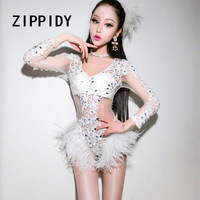Sexy White Lace Feather Torike Bodysuit Crystals Hollow Design Costume Nightclub DJ Singer Prom Party Outfit Stage Show Leotard